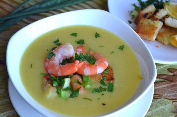 Сливочный суп-пюре с креветками