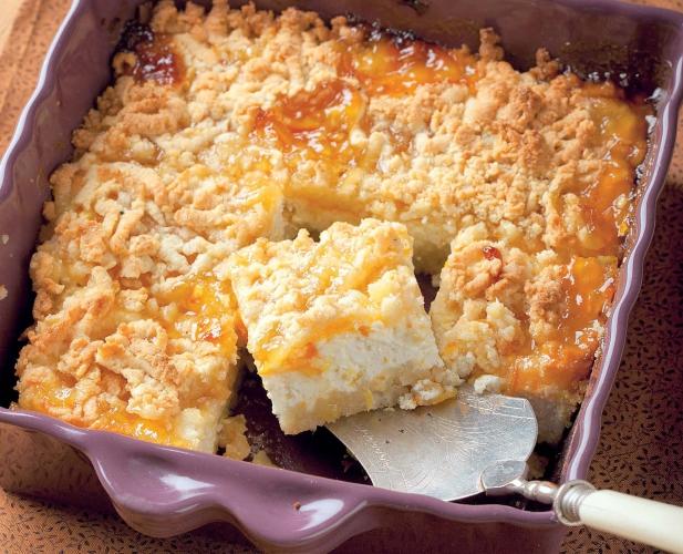 Тертый пирог с творогом и апельсинами
